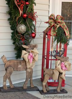 Christmas Front Porch - love the fun wooden deer an that big red lantern Christmas Lanterns, Christmas Porch, Outdoor Christmas, Country Christmas, Winter Christmas, All Things Christmas, Christmas Holidays, Christmas Wreaths, Christmas Decorations