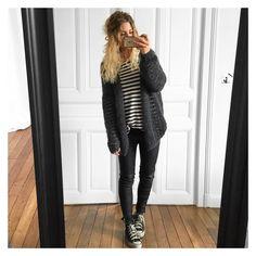 "3,628 mentions J'aime, 47 commentaires - Mélanie Delhaye (@meleponym) sur Instagram: ""Donc, gilet #handmade #knitbyme marinière #zadigetvoltaire cuir #stouls baskets #convers #ootd"""