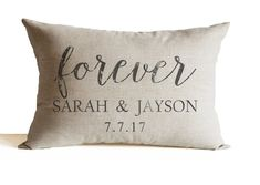 Linen Decorative Pillow Cover Personalized with by AmoreBeaute