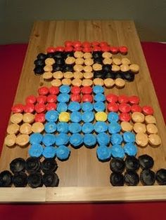 Mario (cup)cake. I think this will be Silas' next birthday cake. But that's a lot of cupcakes!!