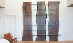 Wood and glass shelves