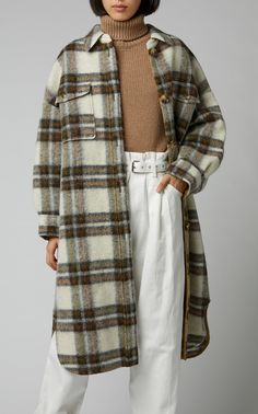 Reminiscent of an oversized work shirt, Isabel Marant Étoile's jacket is patterned in a neutral checked design. Isabel Marant, Oversized Shirt, Winter Fashion Outfits, Work Shirts, Fall Looks, Shirt Jacket, Wool Coat, Wool Blend, Women Wear