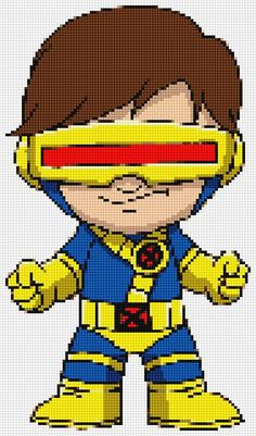 Cyclops Ultimate Chibi cross stitch and plastic canvas