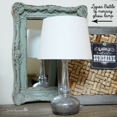 How to upcycle a liquor bottle into a mercury glass lamp with @krylonbrand @savedbyloves