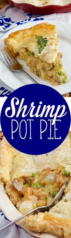 This Shrimp Pot Pie is a fun twist on an old classic. Packed with the perfect flavors, it's such a perfect dinner! Appetizers For A Crowd, Seafood Appetizers, Seafood Recipes, Seafood Pot Pie, Fish And Seafood, Pie Recipes, Dinner Recipes, Cooking Recipes, Recipies