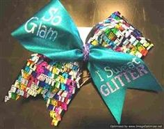 """Teal Mystique and Rainbow Shingle """"So Glam I Sweat Glitter"""" Cheer Bow    $13"""