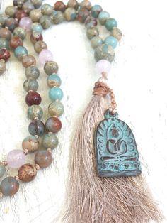 African Opal Knotted Mala Beads Tassel Mala by TrueNatureJewelry