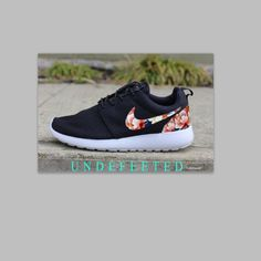 Weekend SALE Black Floral Nike Roshe by UndeFeeted on Etsy, $195.00