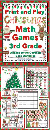 Christmas Math (3rd Grade) : No Prep, Print and Play Games and Centers - Your students will have a blast while reviewing important math skills! These no prep activities are aligned to the Common Core Standards, are each 1 page, and are lots of fun! Also available for 4th grade and 5th grade. $
