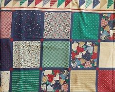 Estate Fabric Floral Pattern Heart Star Folk Country Cheater BTY Vintage Quilt