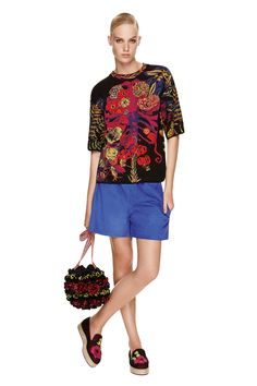 M-Missoni - FLORAL KNIT TOP AND BLUE SUEDE SHORTS