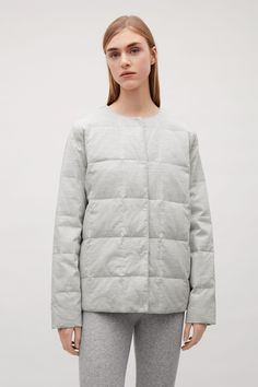 COS image 4 of Padded jacket in Light grey Padded Jacket, Gray Jacket, Cos, Coats For Women, Parka, Raincoat, Winter Jackets, Blazer, Grey