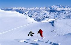 France, Savoie, Les Menuires, off piste skiing What backdrop!