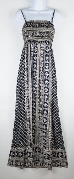 30858f7d15 Monsoon Maxi Long Blue Print Summer Beach Dress Removable Straps Size S 8-10