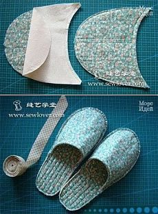 Best 12 Recycled Denim Slippers – No pattern given; pinning photo only; easy enough to figure out how to make Sewing Slippers, Cute Slippers, Knitted Slippers, Shearling Slippers, Easy Sewing Projects, Sewing Tutorials, Sewing Crafts, Sewing Patterns, Fabric Crafts