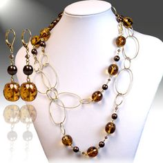 DivaByDzine - Amber and Brown Bead Gold Necklace Set, $19.99 (http://www.divabydzine.com/amber-and-brown-bead-gold-necklace-set/)