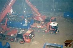 Back in time 02 Ijmuiden (The Netherlands) 16-10-1998 lifting / transport machine  ( schredder ) #Ijmuiden #Krupps #Nooteboom #Van_Seumeren #MAN #Daf #Truckstar #Rotterdam #lifting #transport