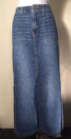 "Women's Union Bay Blue Denim Long Modest Skirt 5"" Side Slits Size 7 #UNIONBAY #StraightPencil"