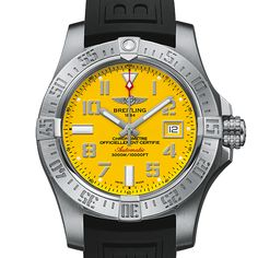 Avenger II Seawolf with a Cobra yellow dial on a black rubber strap with deployable clasp. Available at Masseys Jewelers