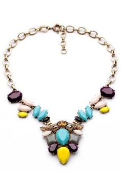 Special Colorblocked Faux Stone Necklace