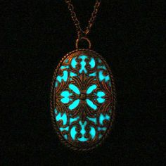 Victorian Necklace Glowing Oval Pendant Glow In by GLOWINGJEWELRY