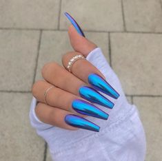Long cotton candy blue coffin nails