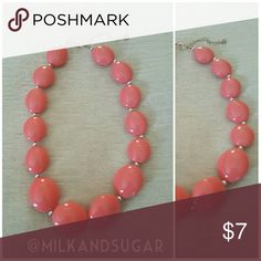 Coral Short Necklace ??Very good condition ??Oval shaped Coral color ??Silver chain and dividers  Bundle ????with other items and save???? Jewelry Necklaces