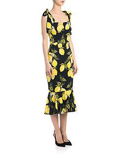 Dolce & Gabbana Charmeuse Lemon-Print Dress