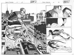 Original Comic Art titled Amazing Spider-man DPS pgs 2 & located in Michael's John Romita Jr Comic Art Gallery Comic Book Artists, Comic Artist, Comic Books Art, Spiderman Art, Amazing Spiderman, All Star Superman, Batman, Nyc Tattoo, Strange Adventure
