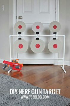 DIY PVC Nerf Spinning Target - This would make a great activity at a Nerf Birthday Party! Easy and inexpensive to build. DIY PVC Nerf Spinning Target - This would make a great activity at a Nerf Birthday Party! Easy and inexpensive to build. Nerf Birthday Party, Nerf Party, Spy Party, Party Games, Carnival Birthday, Pvc Projects, Projects For Kids, Diy For Kids, Crafts For Kids