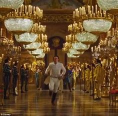 Not giving up: Charming dashes through the halls of the palace to find his princess
