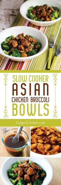 Broccoli and slightly spicy Asian Chicken make a perfect combination in these Slow Cooker Asian Chicken Broccoli Bowls that are gluten-free and dairy-free. [found on KalynsKitchen.com]