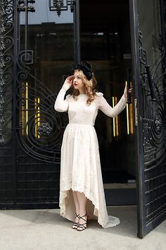 The Good Witch and The City (by Ioa G) H Embroidered Dress, Chanel Sandals, Vintage Flower Headband