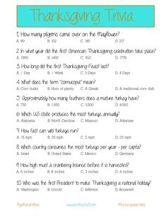 Thanksgiving Trivia {a printable for your gathering}