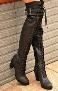 Ladies Black Buckle Strap Lace Up Punk Goth Over The Knee Thigh High Boots B113