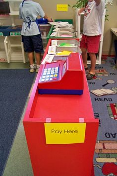Imaginative play centers - several ideas for using recycling.