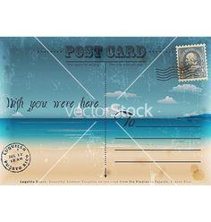 Vintage summer vacation postcard vector on VectorStock®