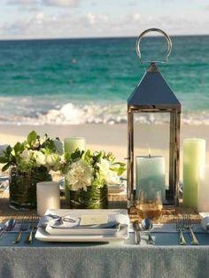 Romantic Beach Wedding Table Settings