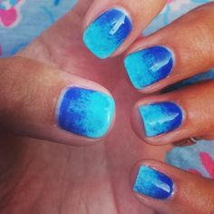Blue ombre summer nail art