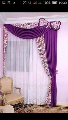 Interior Beautiful Curtain Designs 2015 With Purple Pink Color Combination  Also Soft Best Materials And Beautiful Girly Pattern Besides Medium White  Window ...