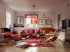 Gudrun Sjoden colourful living room. Love the colours!