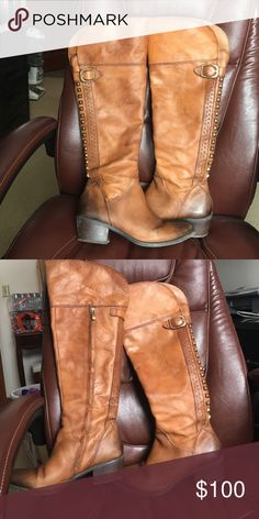 "Vince Camuto OTK Leather Boots Gorgeous Leather tan Vince Camuto Over the Knee Boots. Size 9.5 Gently used but in Great condition! Polished and water proofed. Calf is 14"". Vince Camuto Shoes Over the Knee Boots"