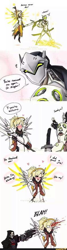 Overwatch, Genji, Mercy, Reaper, Haha