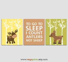 Moose and deer nursery art print -UNFRAMED - neutral gender wall art, I count antlers quote, woodland, brown, green, yellow, tree, forest by VegaPrints on Etsy https://www.etsy.com/listing/252925358/moose-and-deer-nursery-art-print