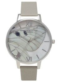 Olivia Burton Woodland Multi Butterfly Wing Watch - Grey & Silver