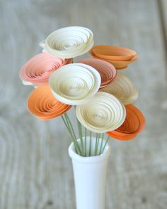 Sherbert Pastel Paper Flowers - 12 Paper Flowers in Peaches and Cream - Spring Centerpiece