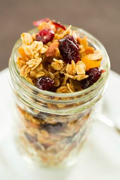 Maple-Almond Granola with Dried Cranberries and Apricots by @browneyedbaker :: www.browneyedbaker.com
