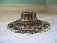 ANTIQUE VINTAGE RIDDLE ART DECO METAL CAST ALUMINUM CEILING LIGHT FIXTURE