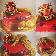 Pastel Dragón chino de la felicidad en fondant
