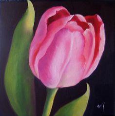 Single Tulip Oil painting Artist Nel Jansen